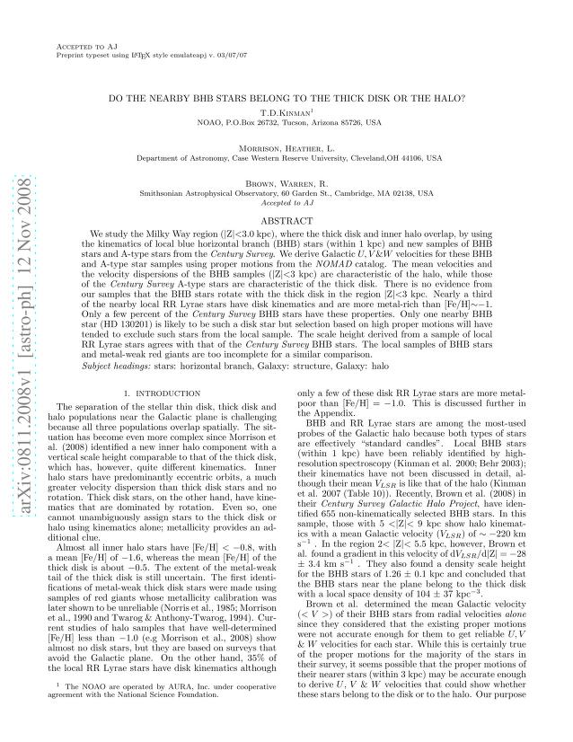 T. D. Kinman - Do the nearby BHB stars belong to the Thick Disk or the Halo?