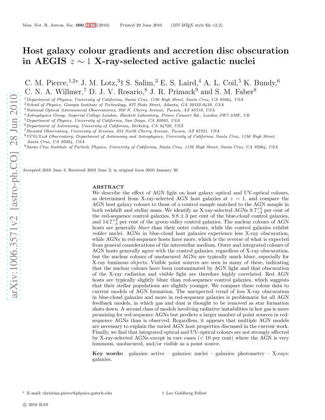 C. M. Pierce - Host galaxy colour gradients and accretion disc obscuration in AEGIS z~1 X-ray-selected active galactic nuclei