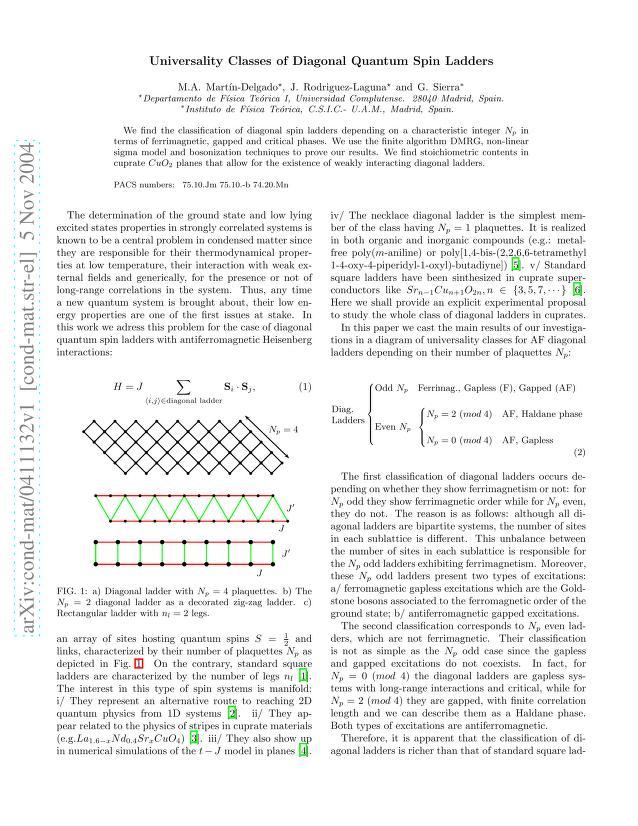 M. A. Martin-Delgado - Universality Classes of Diagonal Quantum Spin Ladders