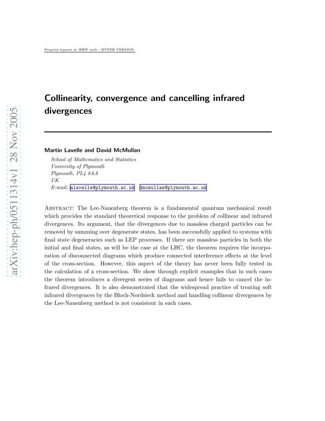 Martin Lavelle - Collinearity, convergence and cancelling infrared divergences