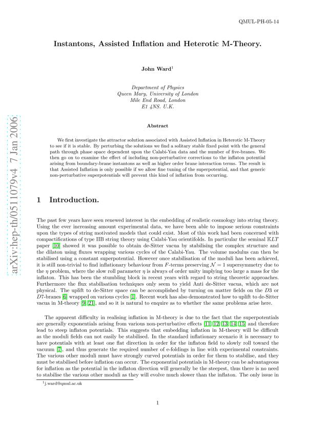 John Ward - Instantons, Assisted Inflation and Heterotic M-theory
