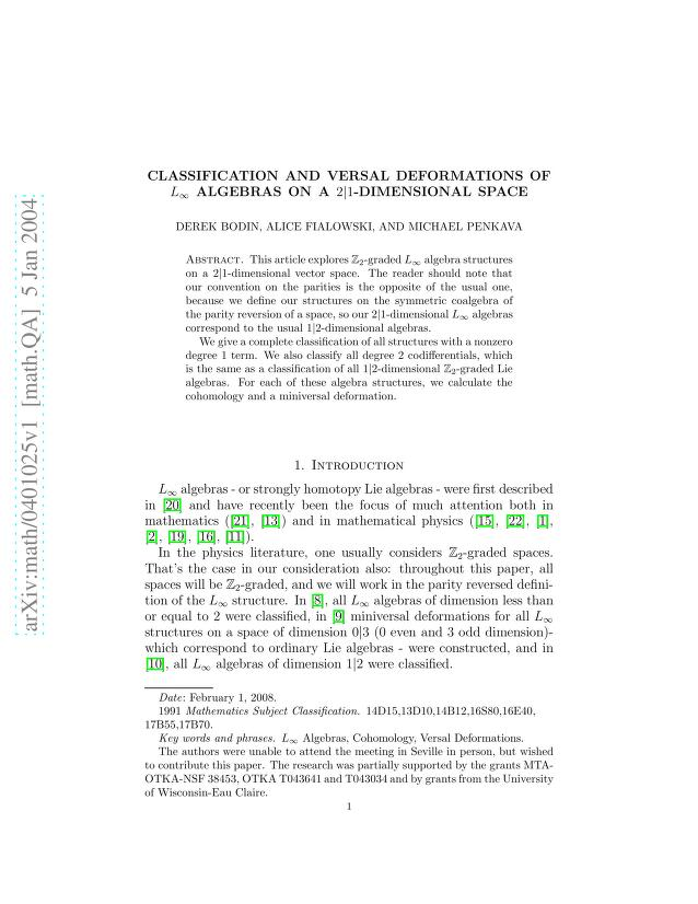 Derek Bodin - Classification and versal deformations of L_\infinity algebras on a 2|1-dimensional space