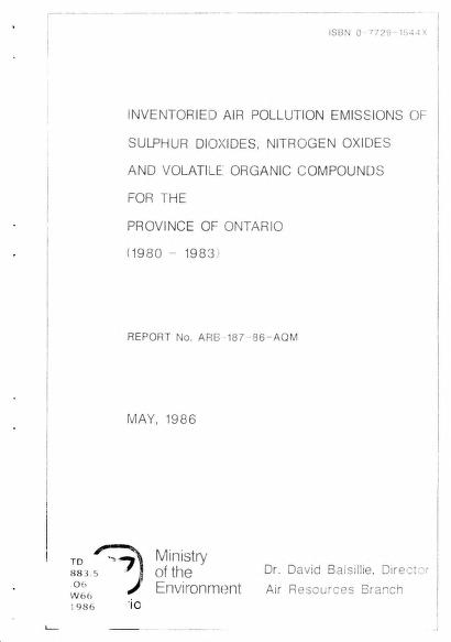 S. K. S. Wong - Inventoried air pollution emissions of sulphur dioxide, nitrogen oxides and volatile orgnanic compounds for the province of Ontario : (1980 - 1983).