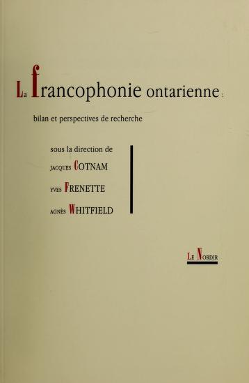 Cover of: La francophonie ontarienne |